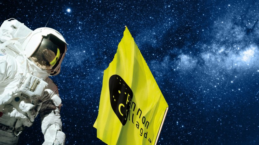 Space suit and the Pannon Observatory flag by night
