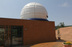 The terrace and the dome at the Pannon Observatory, Bakonybél